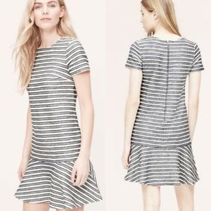 Ann Taylor LOFT striped drop waist dress size 8
